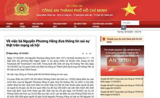 Công an TP HCM thông tin chính thức việc bà Nguyễn Phương Hằng tố bị hành hung ở cơ quan điều tra